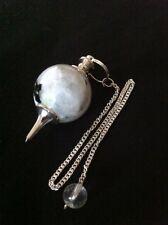 Rainbow Moonstone Sphere Ball Pendulum, crystal healing, Reiki, dowsing gemstone
