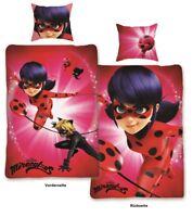 Miraculous Ladybug Wende Bettwäsche Set 135x200 80x80 100% Baumwolle 2 Motive