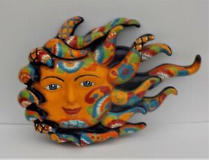 "MEXICAN TALAVERA POTTERY SUN FACE WALL DECOR SCULPTURE 19 1/2"" WIND BLOWN RAYS"