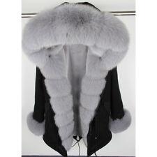 Women's 100% Real Fox Fur Parka Coat Hooded Jacket Rex Rabbit Fur Liner Overcoat