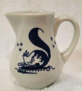 "Snail Small Creamer Pitcher White Ceramic Cobalt Blue 4"" Tall"