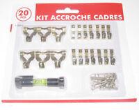 Lot Kit x20 Crochets & Accessoires pour Tableaux + Petit Niveau Accroche Cadres