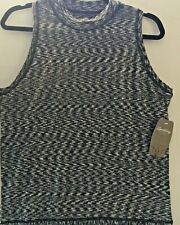 Spalding Womens Tennis Tank Top Large Mock Neck Black New
