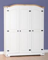Seconique Corona White 3 Door Wardrobe white/pine