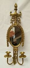 VINTAGE ANTIQUED large  BRASS  OVAL MIRROR CANDLESTICK HOLDER WALL SCONCE