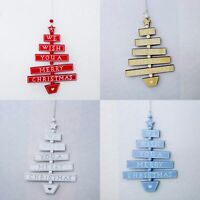 4x Merry Christmas Wooden Hanging Sign Ornaments Xmas Tree Decoration Home Party