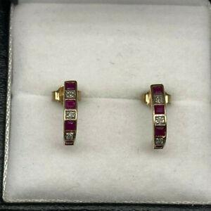 9ct Gold Ruby & Diamond Cuff Stud Earrings.  Goldmine Jewellers.