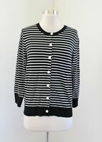 NWT $54 Ann Taylor Loft Womens Black White Striped Cardigan Sweater Size S