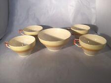 Vintage Art Deco Grindley Petal Ware Cups And Sugar Bowl