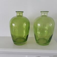 2 Glass bud vases Green Decorative Art table Modern flower home contemporary