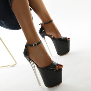 Women Ankle Strap High Heels Platform Sandal Sexy Patent Leather Snakeskin Shoes