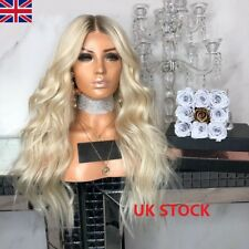 UK Women Platinum Blonde Flaxen Ombre Long Hair Curly Wavy Synthetic Full Wigs