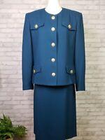Herbert Grossman teal wool skirt suit brass buttons size 16 vintage 1990s