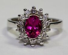14k White Gold Oval Pink Tourmaline and White Round Diamond Ring Size 5.5