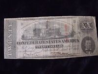 1863 CONFEDERATE STATES OF AMERICA $20 CSA CURRENCY NOTE T-58 CIVIL WAR SHARP