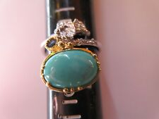 ARTISAN CRAFTED ARIZONA TURQUOISE & SAPPHIRE RING 925 STERLING SILVER SZ/7