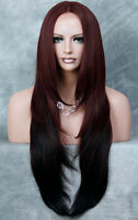 HEAT SAFE Lace Front WIG So Realistic Burgundy mix Straight Hair VFJM CBRD