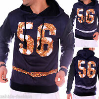 Herren Damen Pullover Pulli Kapuzen Sweatshirt Hoodie T-Shirt SWAG Gold 56 Kette