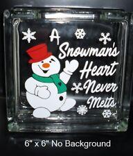 """A Snowman's Heart never melts Christmas decal sticker for 8"""" glass block DIY"""