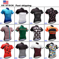 Mens Cycling Jersey Short Sleeve Breathable Quick Dry Road Riding Bike Man Women