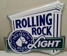ROLLING ROCK LIGHT DIE CUT EMBOSSED METAL BEER SIGN