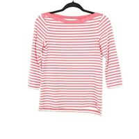 Kate Spade New York Sz S Boat Neck Shirt Top Bow Pink White Stripes Womens