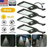 4pcs LED Solar Lights Motion Sensor Wall Light Outdoor Waterproof Garden Lamp US
