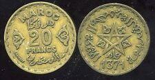 MAROC  MOROCCO  20  francs 1371 - 1951   ( etat )
