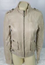 Vero Moda Jeans Faux Leather Jacket Women Small Moto Touring Bomber Distressed