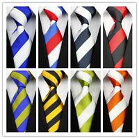 Black Red White Orange Green Yellow Striped Classic Men's Casual Tie Necktie