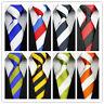 Classic Blue White Red Striped 100% New Silk WOVEN JACQUARD Men's Tie Necktie