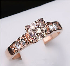 Women's 18K Rose Gold Plated Simulated Diamond Fashion Wedding Engagement Ring