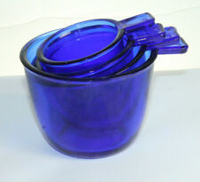 Depression Style Blue Glass Nesting Measuring Cups Set of 4 Vintage style Retro