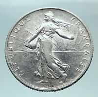 1915 FRANCE Antique Silver 2 Francs French Coin w La Semeuse Sower Woman i80866