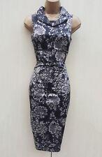 Karen Millen Black Silk Floral Lace Print Cocktail Wiggle Hourglass Dress 12 UK