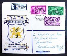 GB 1958 RARE R.A.F.A. Society Registered Empire Games FDC NC743