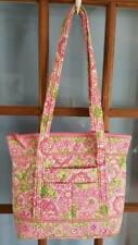 Vera Bradley Petal Pink Large Iconic Tote Pink Green Floral Print Bag Purse
