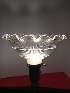 NOS VINTAGE Holophane Ruffled Glass Shade Ribbed scalloped  2-1/4 fitter NOS
