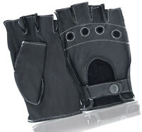 LEATHER FINGERLESS DRIVING GLOVES WHEELCHAIR DRIVING CYCLING BIKER RAWHIDE