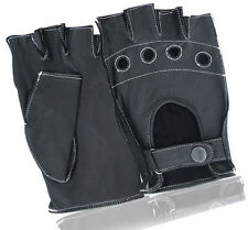 Mens Driving Leather Gloves Fingerless Vented Knuckle Hole Car Bike Motorcycle