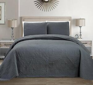 Mk Collection 3pc King/California King Solid Embossed Bedspread Bed Cover Over S