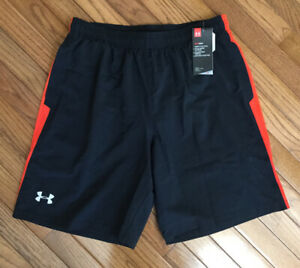 New Under Armour Men's Black / Red Launch 9'' Running Shorts Sz L (C39-7)