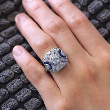 Women 925 Silver White Topaz Sapphire Wedding Ring Engagement Jewelry Size 6-10