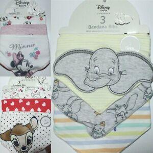 Authentic Primark Disney Baby Dumbo Bambi Minnie Bandana Bibs Pack of 3