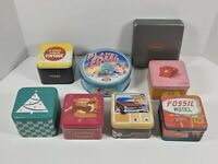 Lot Of 8 Empty Fossil Tins (7) Watch & (1) Wallet