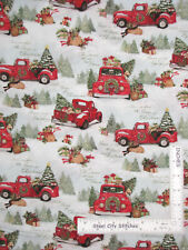 Red Truck Tree Home For Christmas Susan Winget Cotton Fabric CP69123 By The Yard