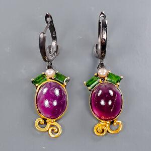 Handmade Earrings Ruby Earrings Silver 925 Sterling   /E57672