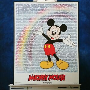 Mickey Mouse Filmography Poster 1986 Framed Ready to Hang