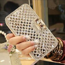 Fashion Bowknot Leather Diamond Rhinestone Flip Wallet Stand Phone Case Cover