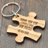Jigsaw Piece Wedding Favour Keyrings Personalised Keepsake Favours For Weddings